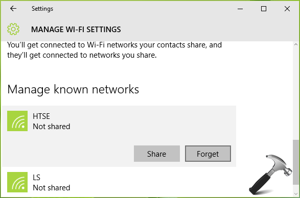 how to delete known networks on windows 10