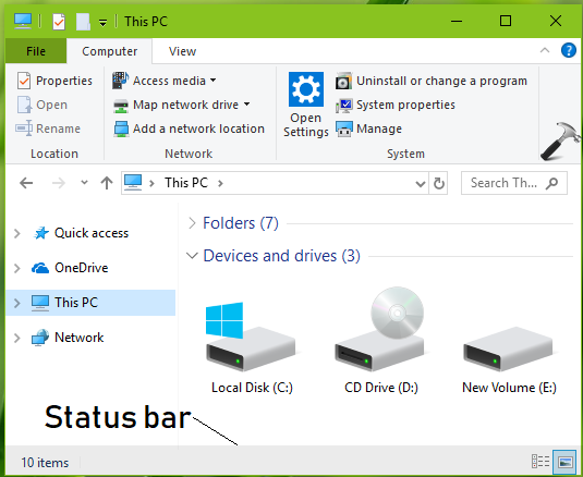 How To Hide Status Bar In File Explorer For Windows 10