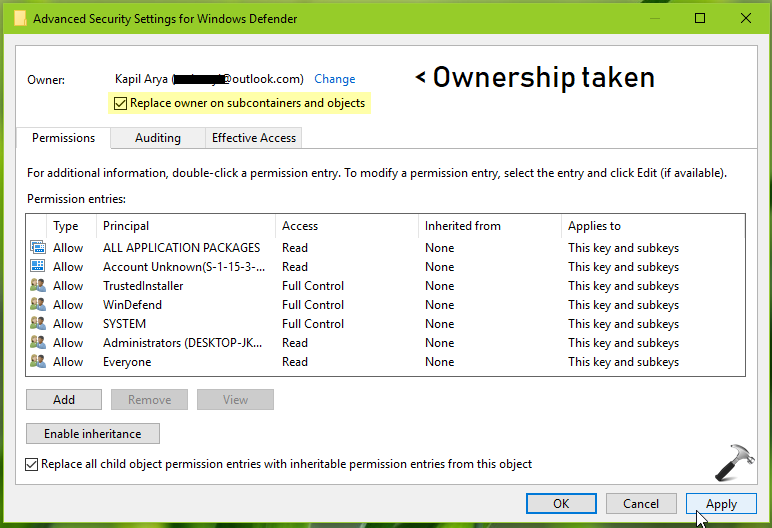 >How To Manually Take Ownership Of Registry Key In Windows 10