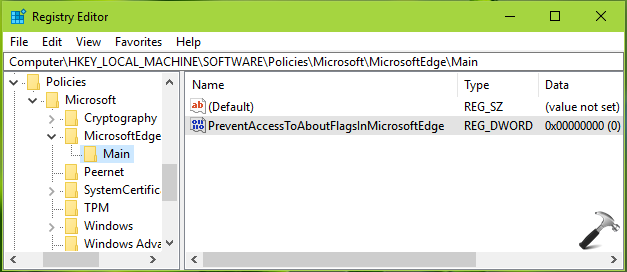 How To Prevent Access To The about:flags Page In Microsoft Edge
