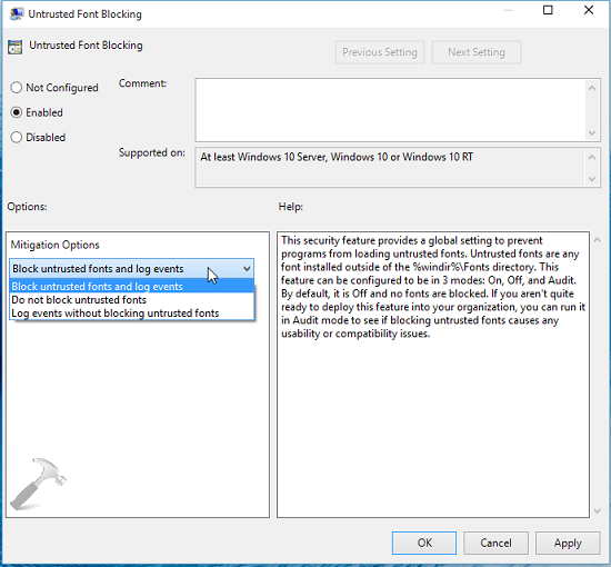 How To Prevent Programs From Loading Untrusted Fonts In Windows 10