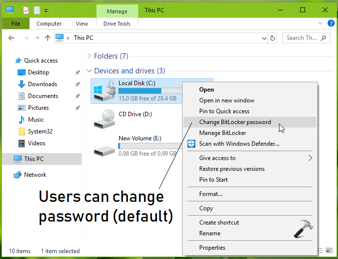 How To] Prevent Users To Change BitLocker Password For OS Drive