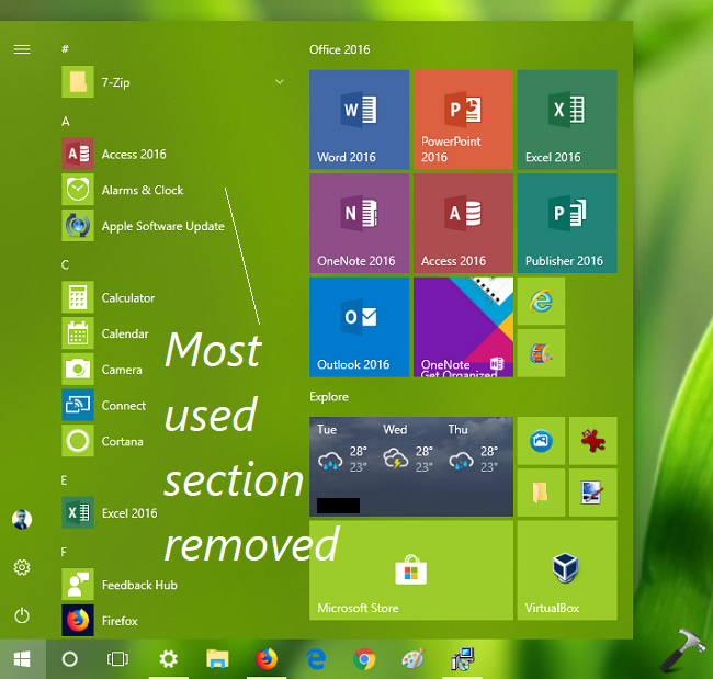 How To Remove Most Used List From Start Menu In Windows 10