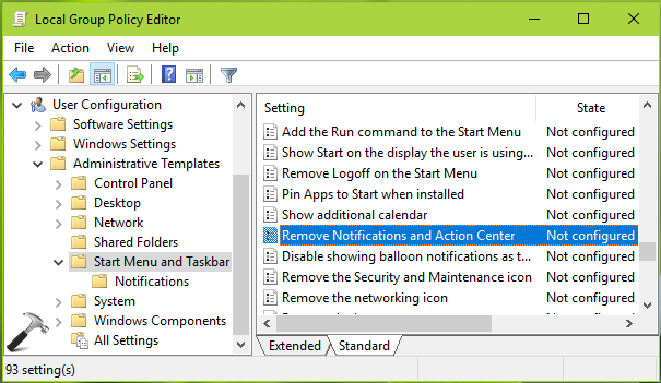 How To Remove Notifications And Action Center In Windows 10