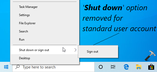 How To Remove Shut Down Option For Standard Users In Windows 10
