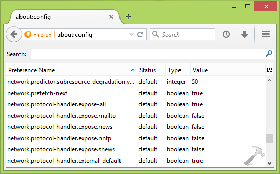 Reset All About:Config Preferences To Default In Mozilla Firefox