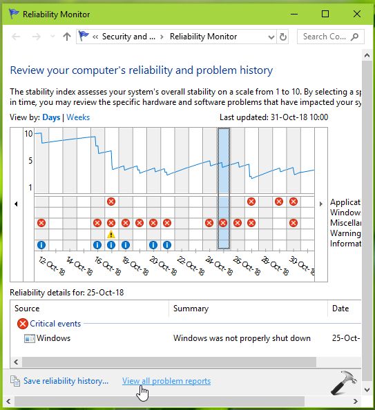 How To Reset Reliability Monitor In Windows 10