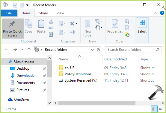 How To Restore Or Add Recent Folders To Windows 10 File Explorer