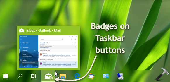 How To Show Hide Badges On Taskbar Buttons In Windows 10