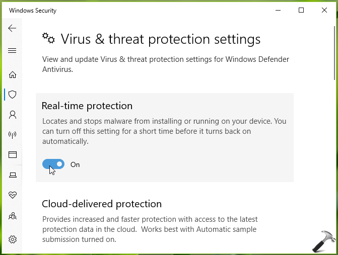 How To Turn On Off Real-time Protection In Windows Security Defender