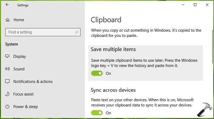 How To Turn On Or Off Clipboard History In Windows 10