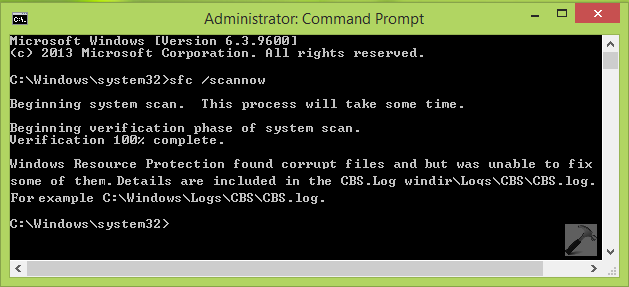 Windows Resource Protection found corrupt files but was unable to fix some of them.