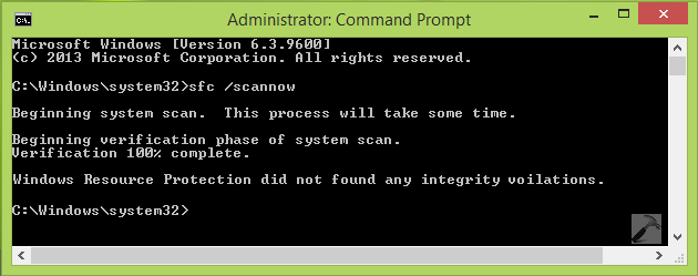 Windows Resource Protection did not find any integrity violations.