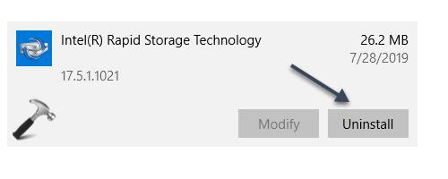 Intel Rapid Storage Technology Driver Blocks V1903 Upgrade