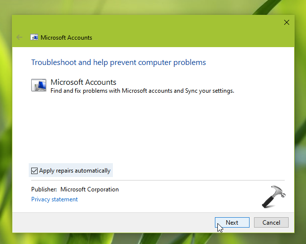 Microsoft Accounts Troubleshooter In Windows 10