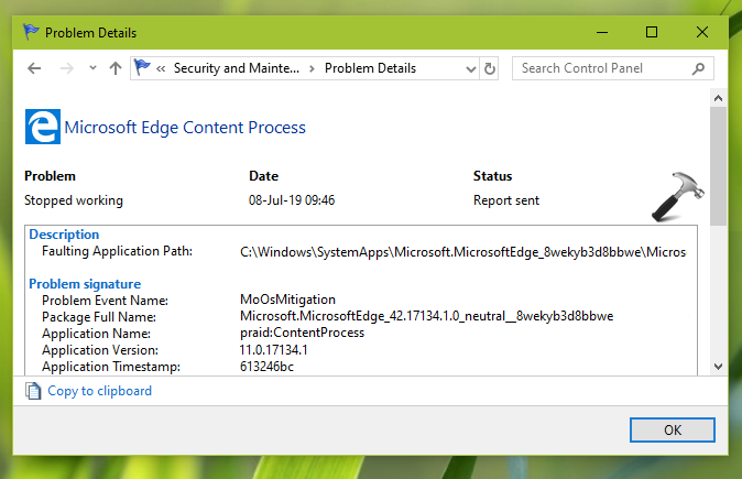 Microsoft Edge Content Process Stopped Working