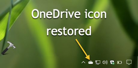 OneDrive Icon Missing From Taskbar In Windows 10