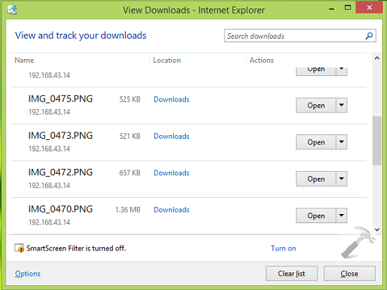 how to prevent deleting of download history in internet explorer