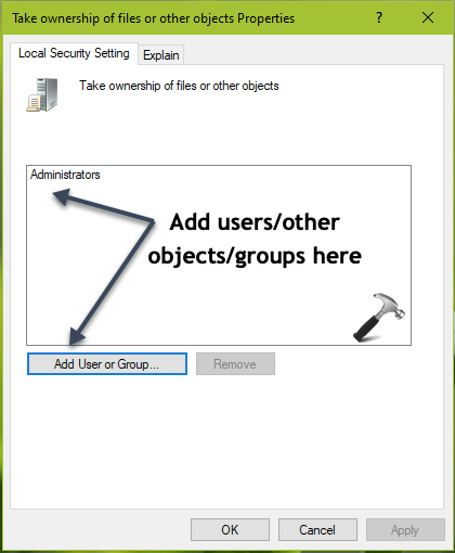 How To Allow Prevent Users To Take Ownership Of Files Or Other Objects