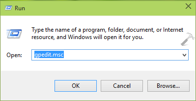 Group Policy Editor command in Run dialog box