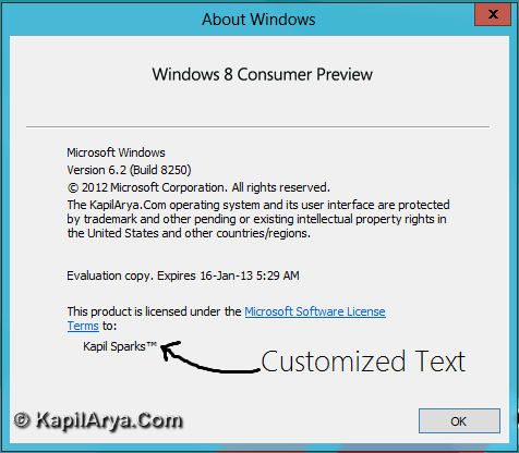 Registered Owner Windows 8 3