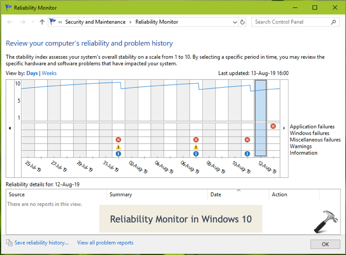 Reliability Monitor Not Working In Windows