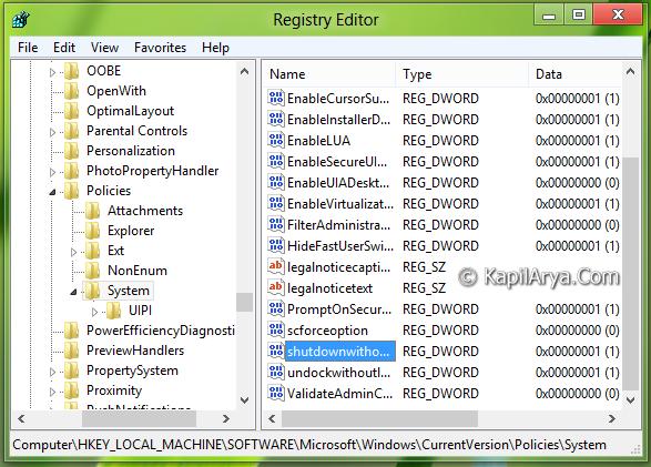 hkey local machine software microsoft windows currentversion policies system