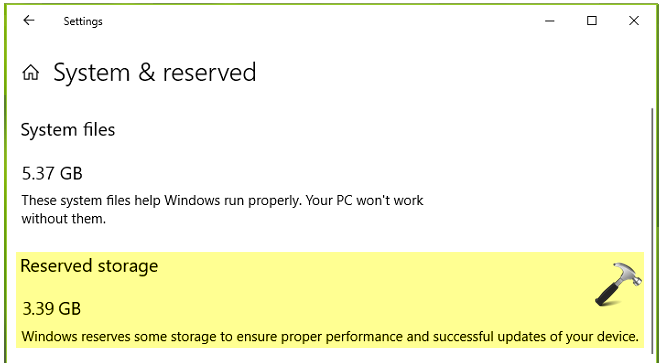 Reserved Storage Feature In Windows 10 V1903 Or Later