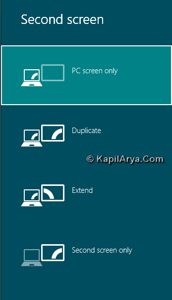 Second Screen Display In Windows 8