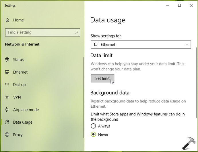 How To Set Data Limit For Network Connection In Windows 10