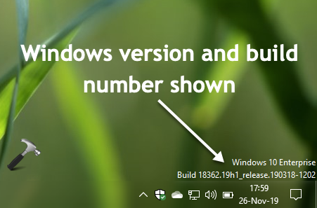Show Windows Version On Desktop