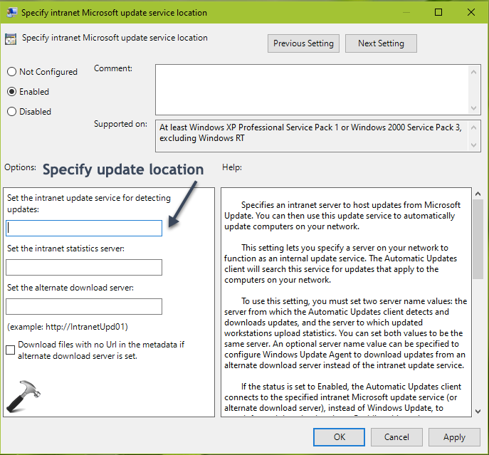 How To Specify Intranet Update Service Location In Windows 10