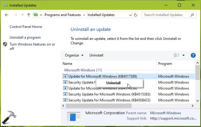 Start Menu Critical Error After Installing KB4517389