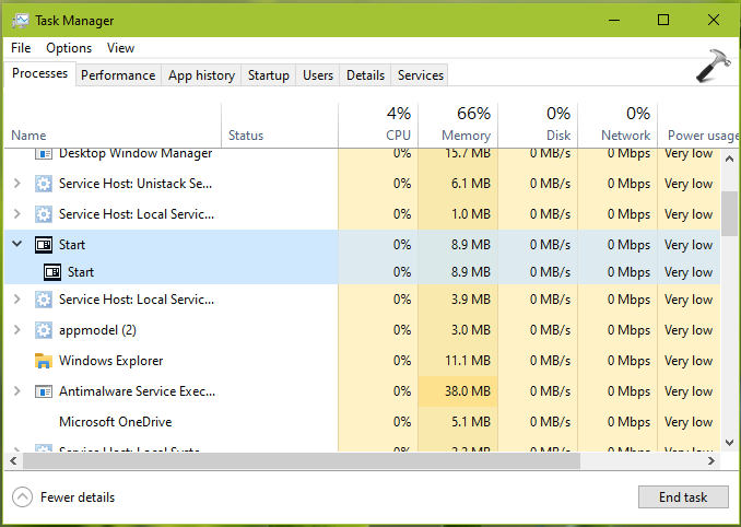 StartMenuExperienceHost.exe In Windows 10