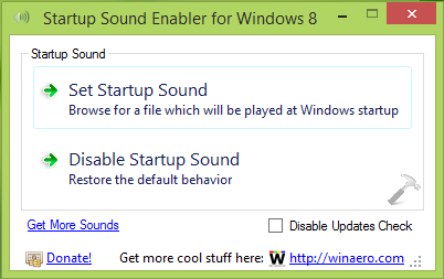 Startup Sound Enabler Running On Windows 8.1
