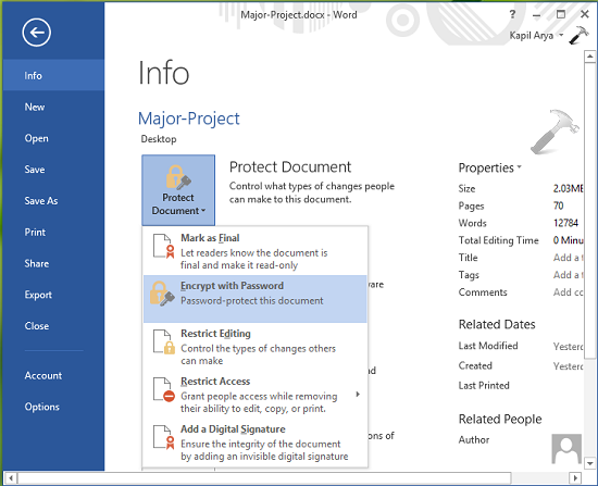 How To Make Files Password Protected In Word 2013