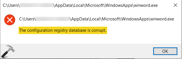 The Configuration Registry Database Is Corrupted