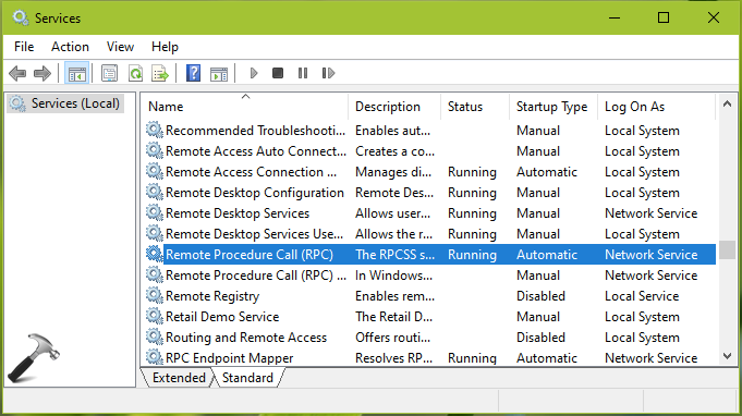 FIX The RPC Server Is Unavailable In Windows 10