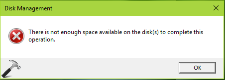 There Is Not Enough Space Available On The Disks To Complete This Operation
