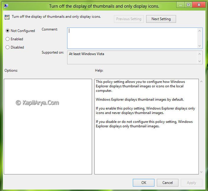 Thumbnails Enable Disable In Windows 8 6