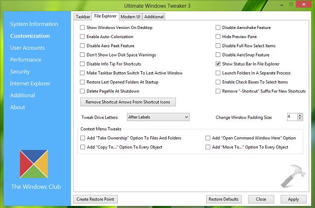 Ultimate Windows Tweaker 3 : Must Have Tweaking Utility For Windows