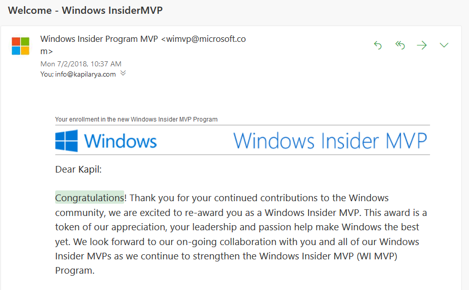 Got My 5th Microsoft MVP & 3rd Windows Insider MVP Award