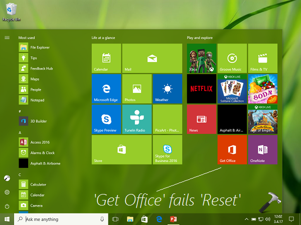 Windows 10 Reset Fails If Get Office App Is Installed