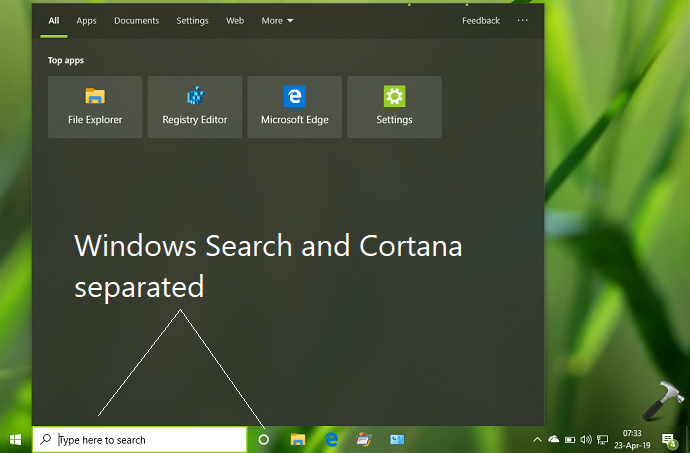 Windows 10 V1903 Separates Search And Cortana