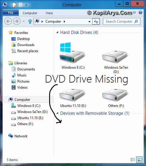 Windows 8 CP DVD Drive Missing