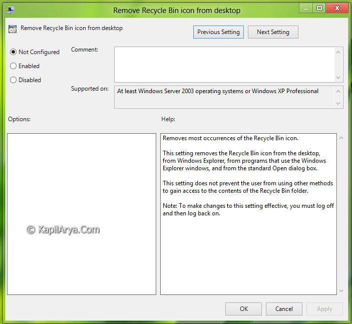 FIX] Recycle Bin Icon Greyed Out For Desktop Icon Settings In Windows 8