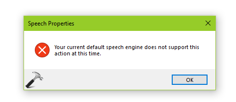 Your Current Default Speech Engine Does Not Support This Action At This Time