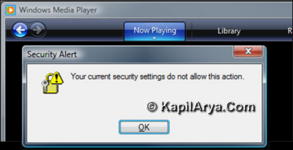 Your Current Security Does Not Allow This Action WMP