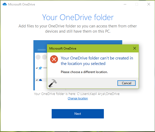 Your OneDrive Folder Can't Be Created In The Location You Selected